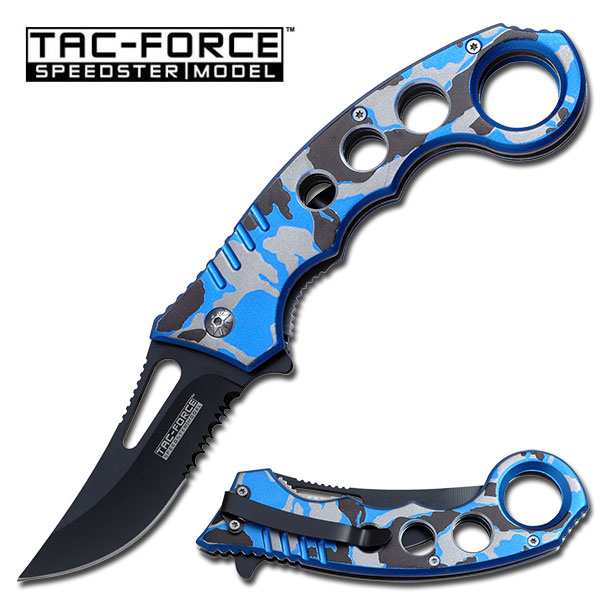 "5.5"" Spring Assisted Tac-Force Knife in Blue Camo"