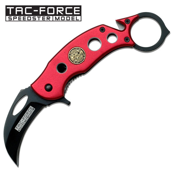 "4.25"" BRIGHT RED FIRE DEPT KARAMBIT SPRING ASSIST KNIFE"