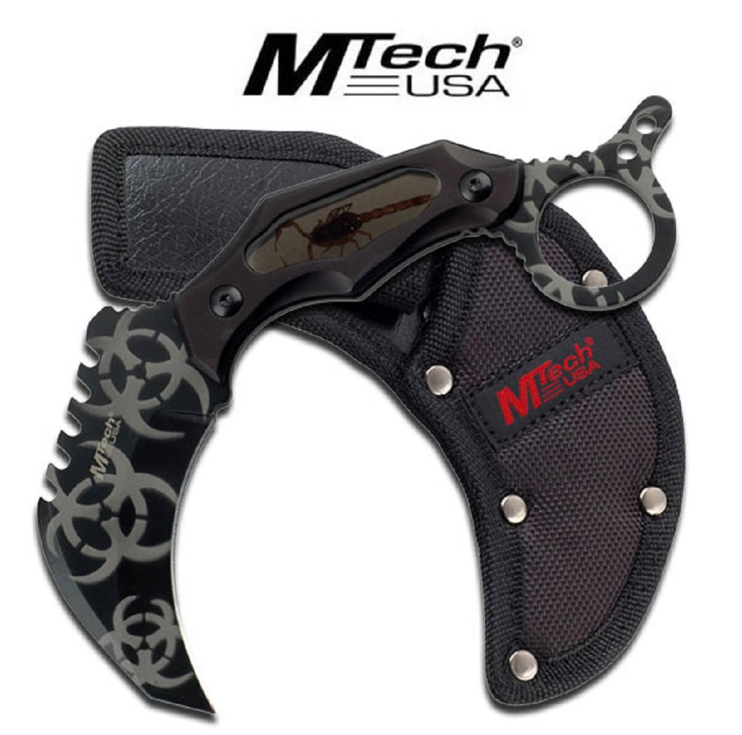 MTECH GREYFixed Blade Tactical Karambit Knife REAL SCORPION